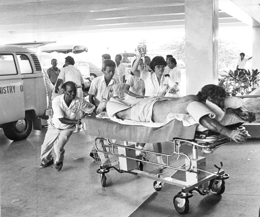 Source Straits Times © Singapore Press Holdings Limited. Reproduced with permission. Patients with severe burns from the Spyros explosion were arriving at our Burns Unit in SGH, literally by the lorry load.