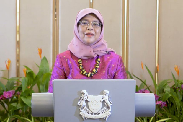 President Halimah Yacob speaking virtually at the Asia Pacific Conference and Meeting on Mental Health on Oct 7, 2021PHOTO HALIMAH YACOB/FACEBOOK