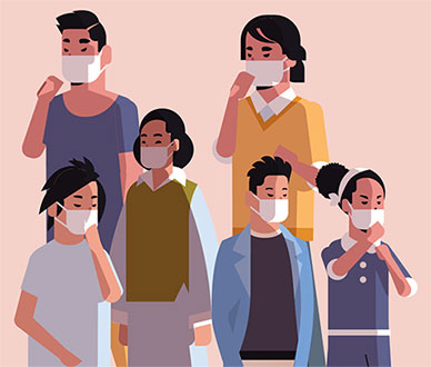 people wearing mask illustration