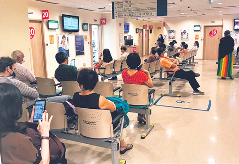 An outpatient clinic at the Singapore National Eye Centre. Waiting times there can stretch to 45 minutes on busy days. PHOTO SINGAPORE NATIONAL EYE CENTRE